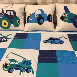 patchwork takaró, falvédő járművekkel, autó, repülő, vonat, Otthon & Lakás, Lakástextil, Takaró, Varrás, Patchwork, foltvarrás, Meska