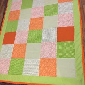 patchwork takaró, falvédő kockákból, sárga, narancs - Meska.hu