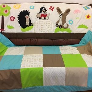patchwork falvédő,takaró szettben,erdei hangulat, Kis vakond, süni,, Otthon, lakberendezés, Lakástextil, Takaró, ágytakaró, Varrás, Patchwork, foltvarrás, Falvédő mérete:170x60cm, takaró mérete: 170x90cm Ez a takaró alkalmas ágy letakarására és takarózás..., Meska