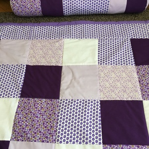 patchwork takaró lila szívecskékkel és felirattal, hengerpárna - otthon & lakás - lakástextil - ágytakaró - Meska.hu