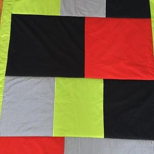 patchwork takaró, falvédő, hengerpárna kék-zöld-piros-csíkos  - Meska.hu