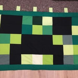 Minecraft Creeper patchwork falvédő, takaró, Otthon & Lakás, Lakástextil, Falvédő, Varrás, Patchwork, foltvarrás, Falvédő mérete: 200x75cm . Az anyagot varrás előtt kimostam, tehát nem fog összemenni( be van avatva..., Meska