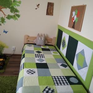 Zöld kockás patchwork falvédő, takaró szettben, Falvédő, Lakástextil, Otthon & Lakás, Varrás, Patchwork, foltvarrás, Egy hasznos takaró kamaszoknak, fiúknak\nTakaró mérete: 220x130cm, ára: 20.000 Ft\n falvédő 200x75cm, ..., Meska