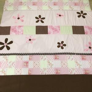 patchwork rózsaszín-barna takaró csipkével diszítve falvédő, Otthon & Lakás, Ágytakaró, Lakástextil, Varrás, Meska
