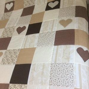 Bézs-barna kockás patchwork takaró, falvédőnek is alk. (kincsesmomka) - Meska.hu