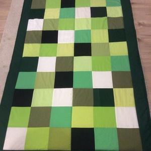 patchwork takaró, favedő Minecraft színekkel , Otthon & Lakás, Ágytakaró, Lakástextil, Patchwork, foltvarrás, Meska