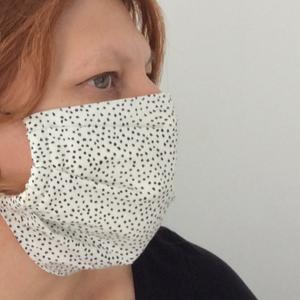 Egészségügyi szájmaszk fehér alapon feket pöttyös (kincsesmomka) - Meska.hu