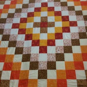 patchwork takaró sárga, narancs-barna- bézs, Otthon & Lakás, Ágytakaró, Lakástextil, Varrás, Patchwork, foltvarrás, Meska