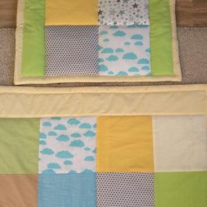 patchwork  takaró, falvédő sárga -kék-bézs - otthon & lakás - lakástextil - takaró - Meska.hu