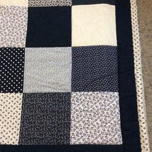 patchwork takaró,kék virágos,  - Meska.hu