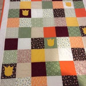 patchwork takaró, tulipánnal - Meska.hu