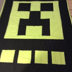 Minecraft Creeper patchwork falvédő, takaró - Meska.hu