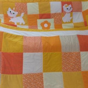 Cicás patchwork falvédő zsebekkel narancs és citromsárga  - Meska.hu