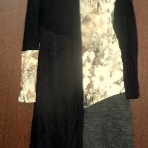 Virágos árnyék, Táska, Divat & Szépség, Ruha, divat, Női ruha, Ruha, Foltberakás, Varrás, Fekete és bézs-mintás anyagok összevarrásával készült ruha,kis szürke kötött anyag foltokkal.\nHosszú..., Meska
