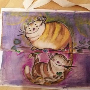 Hintaágyon, Táska & Tok, Bevásárlás & Shopper táska, Festett tárgyak, Festészet, Hintaágyon ringató, relaxáló macskapár.\nKívül belül festett, tarisznya. \nNatúr vászonból varrt taris..., Meska