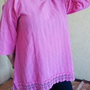 Rózsaszín élénkség, Ruha & Divat, Női ruha, Tunika, Festett tárgyak, Foltberakás, Finom lenvászon anyagú korall, (koptatott rózsaszín) \nszínnel festett, alul pamut csipke rátétes,\nkö..., Meska