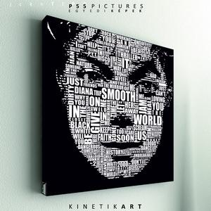 kép: Michael Jackson: Tipográfia, Dekoráció, Otthon & lakás, Kép, Képzőművészet, Grafika, Fotó, grafika, rajz, illusztráció, Mindenmás, P55 - jcknTIPO\n \nmichael jackson: Tipográfia.1\n\n\nP55 pictures:\nAkril felületű faforgácslapra, vinyl ..., Meska