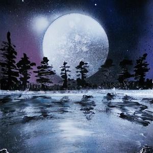 Moon, Képzőművészet, Otthon & lakás, Festmény, Akril, Festészet, A4-es méretű akril spray technikával fotópapírra készített festmény, Meska