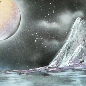 Ezüst hegy, Akril, Festmény, Művészet, Festészet, A3-as méretű akril spray technikával fotópapírra készített festmény, Meska