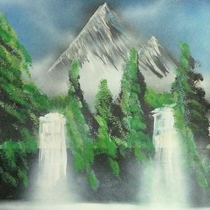 Vízesés, Falra akasztható dekor, Dekoráció, Otthon & Lakás, Festészet, A3-as méretű akril spray technikával fotópapírra készített festmény, Meska