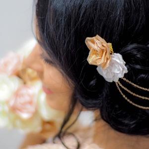 Rosegold alkalmi hajtű/hajdísz, Ruha & Divat, Hajdísz & Hajcsat, Hajcsat & Hajtű, Ékszerkészítés, Mindenmás, A hajdísz rosegold témájú esküvőre készült, de bármilyen elegánsabb alkalomra viselhető. Sötét hajba..., Meska
