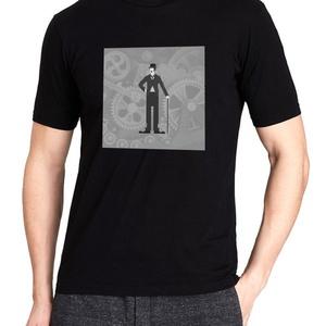 Charlie Chaplin póló, Pixel art póló, Egyedi póló, Férfiaknak, Urban pólók, Táska, Divat & Szépség, Ruha, divat, Férfi ruha, Női ruha, Póló, felsőrész, Fotó, grafika, rajz, illusztráció, A mintán a némafilmes korszak legnagyobb nevettetője: Charlie Chaplin.\nA letisztult, általam terveze..., Meska