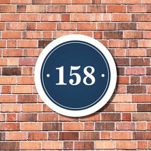 Házszámtábla - kerek, Dekoráció, Otthon & lakás, Lakberendezés, Utcatábla, névtábla, Fotó, grafika, rajz, illusztráció, Mindenmás, Ez a kör alakú házszámtábla csak a házszámot ábrázolja. Kérés esetén körbe az utca nevét is feltünte..., Meska