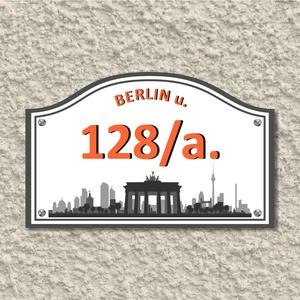 Házszámtábla, Dekoráció, Otthon & lakás, Lakberendezés, Utcatábla, névtábla, Fotó, grafika, rajz, illusztráció, Mindenmás, A házszámtábla utal az utca elnevezésére. Vagyis a Berlin  házszámtábla berlini látképet ábrázol az ..., Meska
