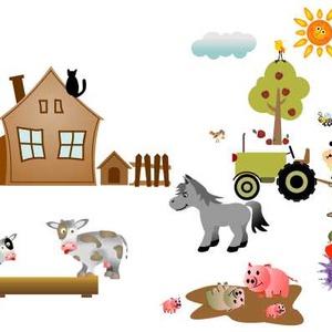 """Falmatrica - falusi, Dekoráció, Otthon & lakás, Falmatrica, Lakberendezés, Fotó, grafika, rajz, illusztráció, Falusi idill, falmatrica.\nA képen látható állatkák és egyéb ábrázolások jellemzői egy falusi \""""látkép..., Meska"""