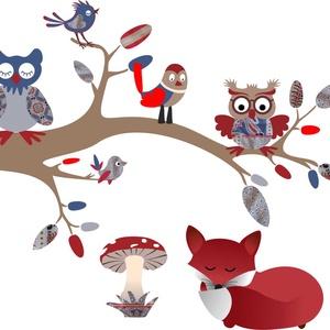Faág állatokkal, Dekoráció, Otthon & lakás, Falmatrica, Fotó, grafika, rajz, illusztráció, Saját tervezésű grafika, vinylre nyomtatva.\nA faágon két baglyocska üldögél, mellettük még madárkák ..., Meska