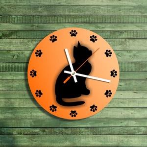 Falióra - macskás, Otthon & lakás, Lakberendezés, Falióra, óra, Fotó, grafika, rajz, illusztráció, Mindenmás, Saját tervezésű grafika. Kézi körkivágás.\nTéma: macskás óra. A helyi értékeknél számok helyett tappa..., Meska