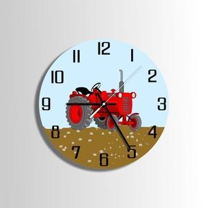 Falióra - öreg traktor, Falióra & óra, Dekoráció, Otthon & Lakás, Famegmunkálás, Festett tárgyak, Saját tervezésű falióra. Önálló grafikai tervezés és kivitelezés, beleértve a kivágást is.\nTéma: mun..., Meska