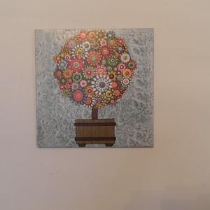 Táblakép - színes, pöttyös fa (Kiokumitsu) - Meska.hu