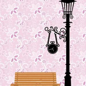 Falmatrica - lámpa és pad, Dekoráció, Otthon & lakás, Falmatrica, Lakberendezés, Fotó, grafika, rajz, illusztráció, Lámpaoszlop falmatrica. Saját grafikai tervezés.\n\nFelragasztható méret: 100 x 50 cm. Ettől eltérő mé..., Meska