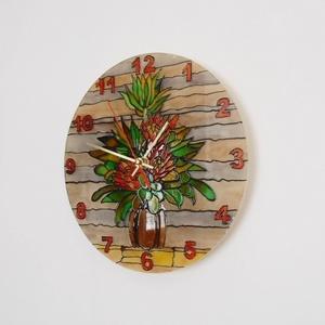 Virágmintás üvegóra, Otthon & lakás, Dekoráció, Lakberendezés, Falióra, óra, Festett tárgyak, Festészet, Saját tervezésű grafika, saját kivitelezés (kifestés) vásárolt üveglapra. Virágmintás üveg falióra,..., Meska