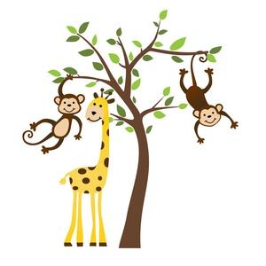 Falmatrica, Falmatrica & Tapéta, Dekoráció, Otthon & Lakás, Fotó, grafika, rajz, illusztráció, A falmatricán aranyos majmocskák vannak egy oroszlán társaságában Létezik jobbos, illetve balos vált..., Meska