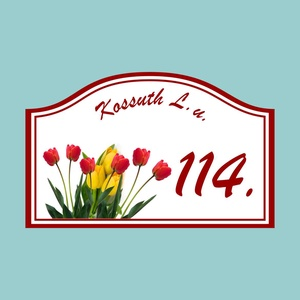 Házszámtábla - tulipános, Házszám, Ház & Kert, Otthon & Lakás, Fotó, grafika, rajz, illusztráció, Mindenmás, Saját tervezésű grafika. Kivágás kézzel.\nTéma: tulipáncsokorral díszített házszámtábla. Kérhető bárm..., Meska