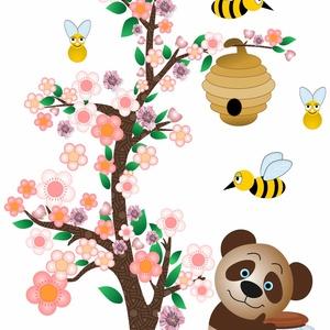 Macis falmatrica, Egyéb, Dekoráció, Otthon & lakás, Falmatrica, Fotó, grafika, rajz, illusztráció, Macis falmatrica. Minden mackó szereti a mézet., bár ez veszélyes, mert a méhecskék szeretik megvéde..., Meska