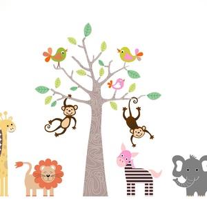 Állatos falmatrica, Otthon & lakás, Dekoráció, Falmatrica, Fotó, grafika, rajz, illusztráció, A falmatrica egy fa köré csoportosult állatseregletet ábrázol. Zebra, zsiráf, elefánt, oroszlán , ma..., Meska