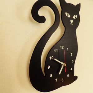 Macskás falióra, Falióra & óra, Dekoráció, Otthon & Lakás, Fotó, grafika, rajz, illusztráció, Macskás sziluett óralap csendes óraszerkezettel szerelve.\nSaját tervezésű falióra. Önálló grafikai t..., Meska