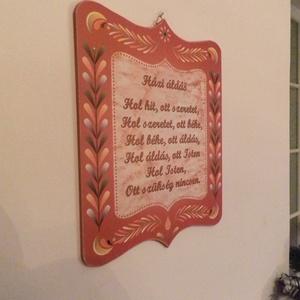 Házi áldáa, Lakberendezés, Otthon & lakás, Dekoráció, Falikép, Fotó, grafika, rajz, illusztráció, Házi áldás. Klasszikus, letisztult forma. \nKét fajta változat létezik: piros és fehér változat.\nSajá..., Meska