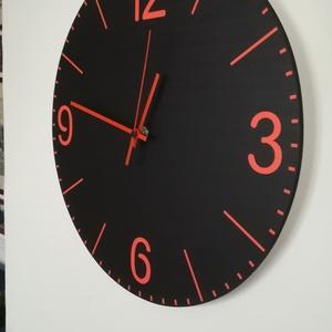 Fekete óra, Dekoráció, Otthon & lakás, Lakberendezés, Falióra, óra, Festett tárgyak, Fotó, grafika, rajz, illusztráció, Fekete alapon narancssárga perc és órajelek. Saját tervezés és kivitelezés, beleértve a kivágást is...., Meska