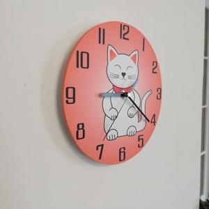 Macskás óra, Otthon & lakás, Gyerek & játék, Lakberendezés, Falióra, óra, Famegmunkálás, Saját tervezésű és kivitelezésű falióra, beleértve a kivágást is.\nAlapméret 25 cm, de választható eg..., Meska