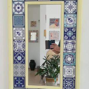 Tükör , Tükör, Dekoráció, Otthon & Lakás, Festészet, Festett tárgyak, Saját tervezésű és kivitelezésű falitükör.\n\nMéretei: 97 x 58 cm külső.\n65 x 26 cm a tükör része. \nKö..., Meska