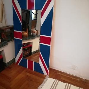 Falitükör nemzeti díszítéssel, Tükör, Dekoráció, Otthon & Lakás, Famegmunkálás, Falitükör brit zászlós díszítéssel. Méret 100 x 60 cm.\nMás nemzet zászlajával is készülhet, de előtt..., Meska