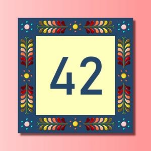 Házszámtábla - négyzet 3D, Házszám, Ház & Kert, Otthon & Lakás, Fotó, grafika, rajz, illusztráció, Mindenmás, Saját tervezésű grafika és saját kivitelezés beleértve a kivágást is.\nA házszámtábla négyzet alakú, ..., Meska