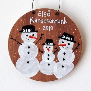 KARÁCSONYI DÍSZ egyedi feliratos, családi emlék, karácsonyfa, első baba, első karácsony, személyre szóló kedves ajándék, Karácsony & Mikulás, Karácsonyfadísz, Fotó, grafika, rajz, illusztráció, Festészet, Első Karácsony együtt, micsoda csoda! \nEhhez kell egy örök emlék! Egy ilyen kis karácsonyfa dísz, am..., Meska