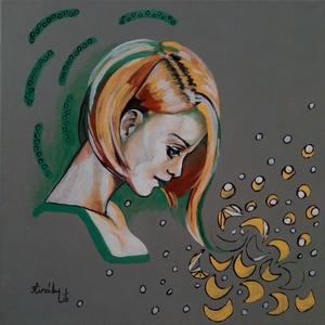 Remény - 40 x 40 centis festmény, Képzőművészet, Otthon & lakás, Festmény, Akril, Festészet, A zöld a remény színe. Tervezünk, álmodunk, próbálkozunk, küzdünk, szeretünk, féltünk, csodálunk, cs..., Meska