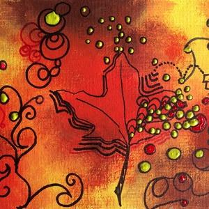 Újjászületés - vegyes technika, Képzőművészet, Otthon & lakás, Festmény, Olajfestmény, Dekoráció, Kép, Festészet, 13 x 20,5 centis vegyes technikával készült festmény vásznon, keret nélkül. A kép valóban ilyen élén..., Meska