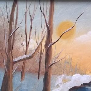 Téli naplemente - olajfestmény (kiralygaleria) - Meska.hu